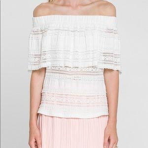 Endless Rose Off The Shoulder Lace Top White